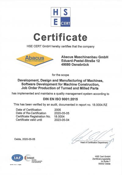 ISO 9001:2015 Certificate | Abacus GmbH